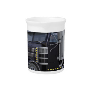 Black Semi Truck with Lights On in A Three Quarter Pitcher
