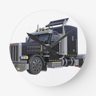 Black Semi Truck with Lights On in A Three Quarter Round Clock