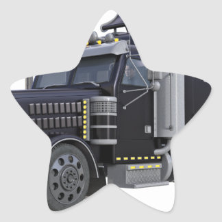 Black Semi Truck with Lights On in A Three Quarter Star Sticker