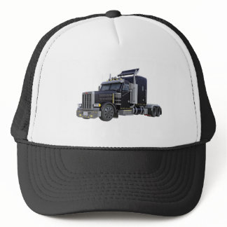 Black Semi Truck with Lights On in A Three Quarter Trucker Hat