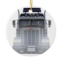 Black Semi Truck with Lights On in Front View Ceramic Ornament