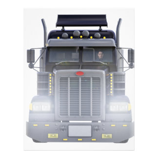 Black Semi Truck with Lights On in Front View Letterhead