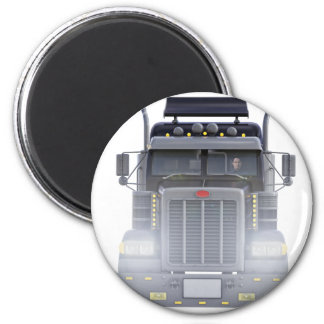 Black Semi Truck with Lights On in Front View Magnet