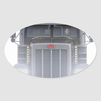 Black Semi Truck with Lights On in Front View Oval Sticker