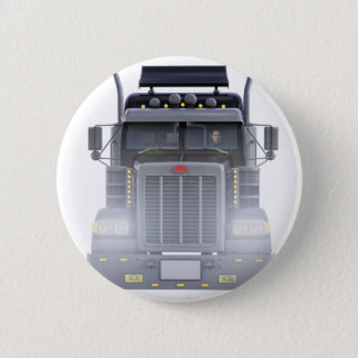 Black Semi Truck with Lights On in Front View Pinback Button