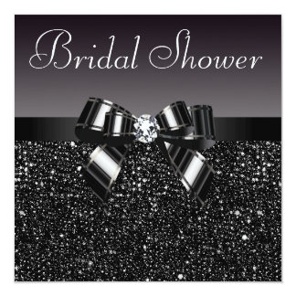 Black Sequins, Bow & Diamond Bridal Shower Card