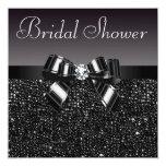 "Black Sequins, Bow & Diamond Bridal Shower 5.25"" Square Invitation Card"