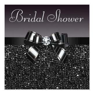 Black Sequins, Bow & Diamond Bridal Shower Invitation