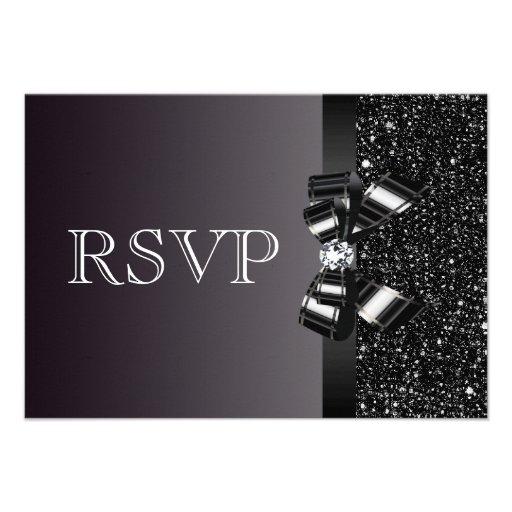 Black Sequins, Bow & Diamond RSVP Wedding Invitation