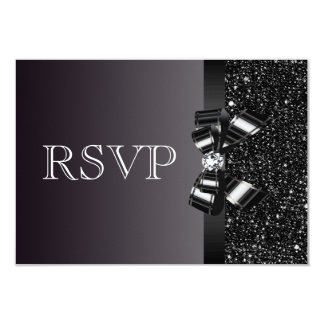 Black Sequins, Bow & Diamond RSVP Wedding 3.5x5 Paper Invitation Card