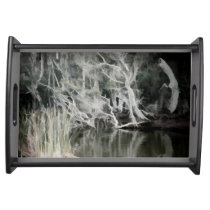 Black Serving Tray Abstract Swamp
