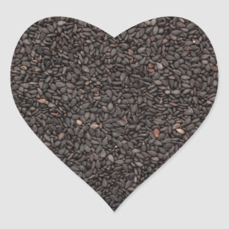 Black sesame seed heart sticker