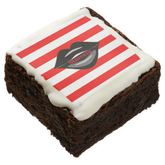 Black sexy lips striped brownies