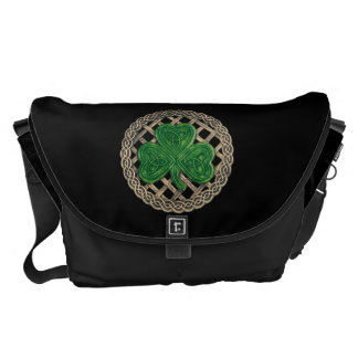 Black Shamrock And Celtic Knot Large Messenger Bag
