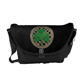 Black Shamrock And Celtic Knots Messenger Bag