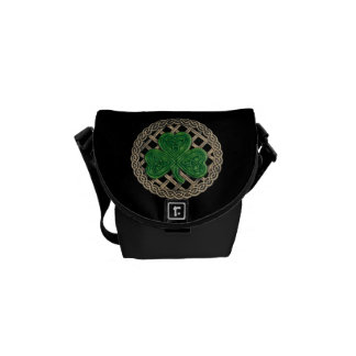 Black Shamrock And Celtic Knots Mini Messenger Bag