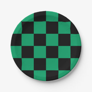 Black/Shamrock Green Checkered Paper Plate