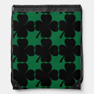Black Shamrock Lucky Irish Four Leaf Clovers Drawstring Backpack