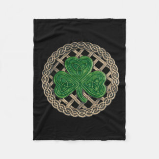 Black Shamrock On Celtic Knots Fleece Blanket