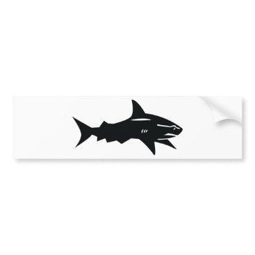 Beach Themed black shark bumper sticker