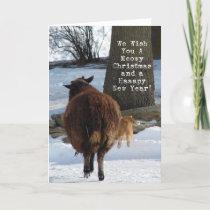 Black Sheep and Cat, Christmas Fun Holiday Card