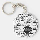 Black sheep basic round button keychain