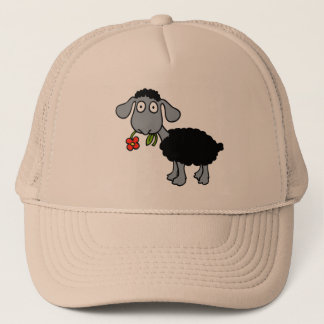 Black Sheep Cute Lamb Red Yellow Flower Trucker Hat