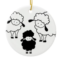 Black sheep family ceramic ornament