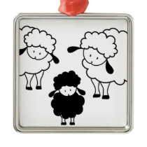 Black sheep family metal ornament