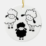 Black sheep family Double-Sided ceramic round christmas ornament