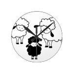 Black sheep family round wall clock