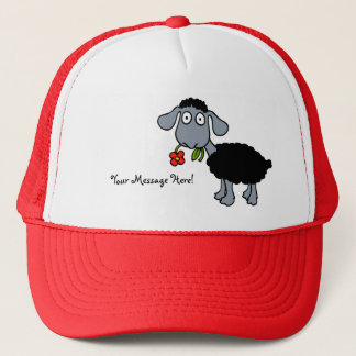 Black Sheep Lamb Red Yellow Flower Your Message Trucker Hat