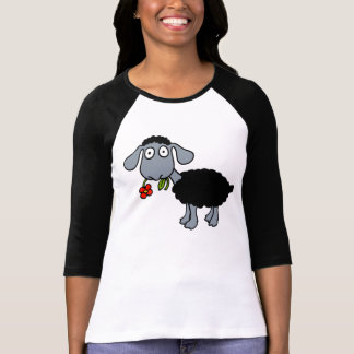 Black Sheep Lamb with Red Flower Gray White T-shirts