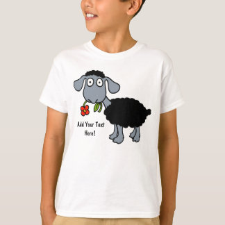 Black Sheep Lamb with Red Flower Personalized T-Shirt