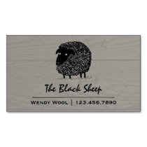 Black Sheep on Wood Style Background Business Card Magnet