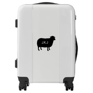 Black Sheep Silhouette with Custom Text Luggage