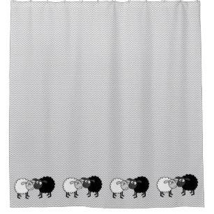 Black Sheep White Shower Curtain