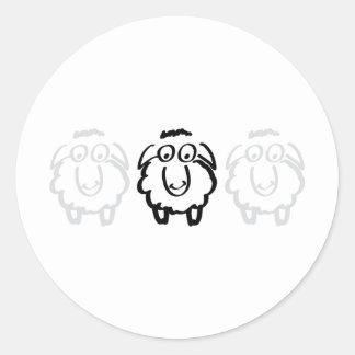 black sheep white sheeps classic round sticker