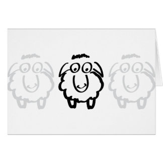 black sheep white sheeps greeting card