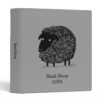 Black Sheep with Custom Text 3 Ring Binder