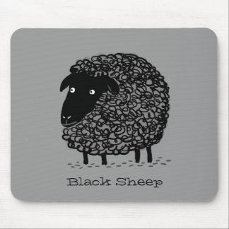 Black Sheep with Custom Text Mouse Pad