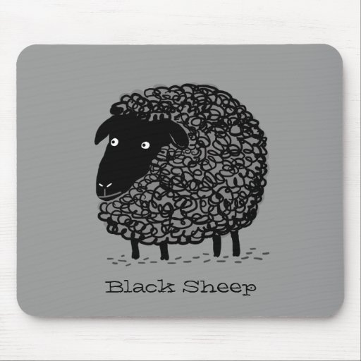 Black Sheep with Custom Text Mouse Pads