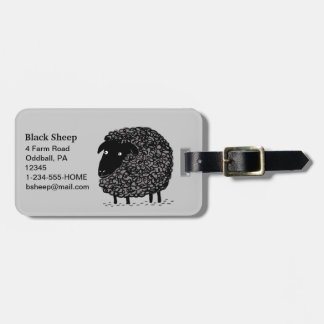 Black Sheep with Customizable Text Luggage Tag