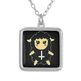 Black Sheep with St. Peter's Cross Square Pendant Necklace