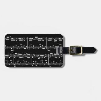 Black Sheet Music Luggage Tag