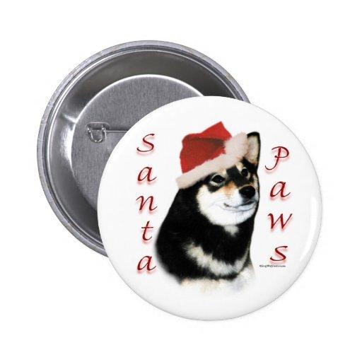 Black Shiba Inu Santa Paws - Button