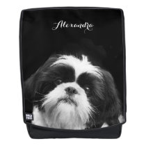 black Shih Tzu dog boldface backpack