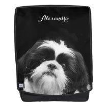 black Shih Tzu dog boldface backpack
