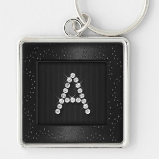 Black Shimmer and Sparkle with Monogram Keychain
