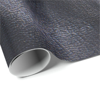 Black Shiny Faux Leather Wrapping Paper